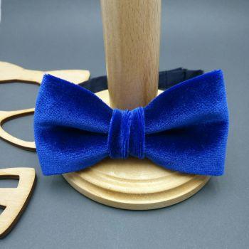 Галстук-бабочка синий бархат Арт.0305