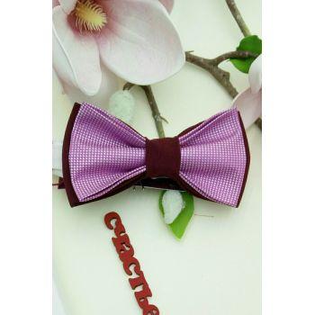 Галстук-бабочка марсала с розовым Арт. 0292