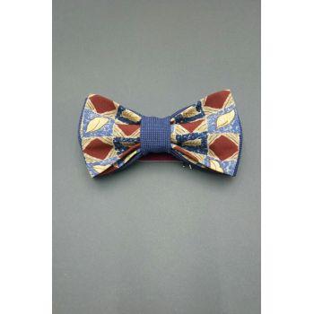 Галстук-бабочка синяя с коричневым узором Арт.0303