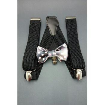 Набор черный галстук-бабочка и подтяжки арт.0264
