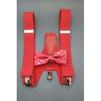 Набор красный галстук-бабочка и подтяжки Арт.0268