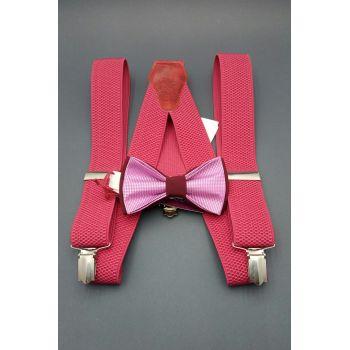 Набор розовый галстук-бабочка и подтяжки Арт.0267