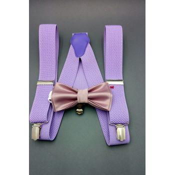 Набор сиреневый галстук-бабочка и подтяжки Арт. 0273