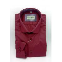 Мужская рубашка бордовая, полупритал. TM Limitless Арт.0178