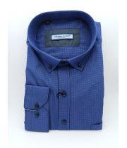 Рубашка с блинным рукавом синего цвета  ТМ Guzeppe Gentini  Арт. 0197